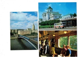 Lot 3 Cpm - RUSSIE MOSCOU - Autobus - Metro Station Carriage - Intérieur - Pont - Métro