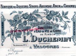 50 - VALOGNES- BUVARD L. DUCHEMIN-DISTILLERIE PAR VAPEUR- FABRIQUE LIQUEURS ET SIROPS-CIDRE-ABSINTHE CARAMEL - Food