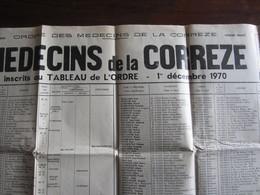 ORDRE DES MEDECINS DE LA CORREZE TABLEAU DES MEDECINS INSCRITS A L ORDRE 1 DECEMBRE 1970 - Decrees & Laws