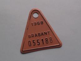 2 Opéénvolgende FIETSPLATEN / PLAQUE Vélo ( BRABANT Nrs. 055188 & 055189 ) Anno 1968 ( België ) ! - Plaques D'immatriculation