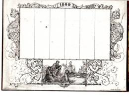 CALENDRIER PENSE-BÊTES Semestriel  Allegorie Religieuse PAQUES  Second Emprire 1869  Napoléon III   FEVR 2019 ABL 7 - Calendriers
