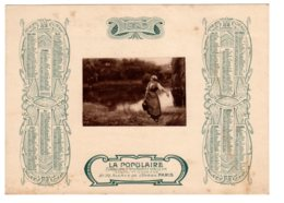 Almanach-CALENDRIER 1905 LA POPULAIRE Compagnie D'Assurance Sur La Vie Publicité Allegorie Porteuse D'Eau FEVR 2019 ABL4 - Grand Format : 1901-20