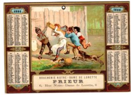ALMANACH - CALENDRIER  1886  CHROMO Alégorie Jeux D'enfants  PUBLICITE BOUCHERIE Notre Dame De LORETTE   FEVR 2019 ABL 7 - Calendriers