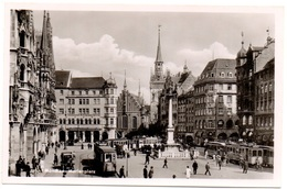 MÜNCHEN Marienplatz 4x Strassenbahn Oldtimer Auto - Muenchen