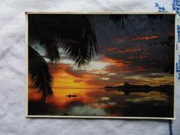 CP 10*15-TAHITI COUCHER DE SOLEIL A MOOREA 1984 - Polynésie Française