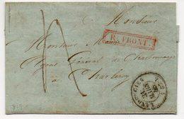 FRANCE LAC Partiel - LANDRECIES  1848 Vers CHARLEROI + AMB FRANCE PAR QUIEVRAIN  - R FRONT  - TB - AA4 - Poststempel