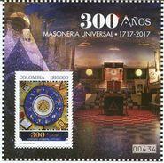 Lote 2017-7H, Colombia, 2017, HF, SS, 300 Años De Masoneria Universal, Mason, Freemason, Book, Art - Colombia