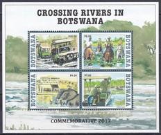 Botswana 2017 Transport Fähren Ferries Furten Fords Flüsse Rivers Chobe Limpopo Molopo Elefanten Flusspferde, Bl. 55 ** - Botswana (1966-...)