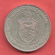 1/2 Dinar , TUNISIE , Cupro-Nickel , AH 1417 , 1997 , N° KM # 346 - Tunisie