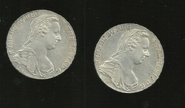 2 PIECES M THERESIA  D G  1780 Sf - Autriche