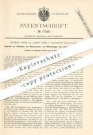 Original Patent - George Weir , James Weir , Glasgow , Schottland , 1881 , Entnahme Von Wasserproben Aus Rohrleitungen - Historische Dokumente