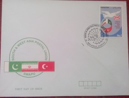 X359- FDC Of Pakistan Year 1993. SWAPU. Flag. Iran. Turkey. - Joint Issues