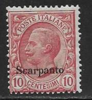 Italy Aegean Islands Scarpanto Scott # 3 MNH Italy Stamp Overprinted, 1912 - Aegean (Scarpanto)