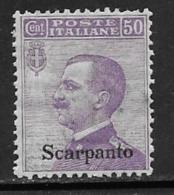 Italy Aegean Islands Scarpanto Scott # 8 MNH Italy Stamp Overprinted, 1912 - Aegean (Scarpanto)