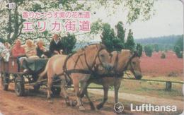 RRR RARE TC Ancienne Japon / 110-011 - AVIATION - LUFTHANSA Germany Cheval - AIRLINES Japan Phonecard - Avion 2192 - Avions