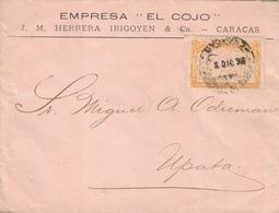 VENEZUELA - LETTRE DE CARACAS POUR UPATA LE 8-12-1894 - VERSO GROSSE VIGNETTE PUB COMMERCIALE. - Venezuela