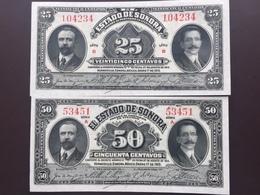 MEXICO PS1069-1070 25-50 CENTAVOS 1915 UNC - Mexique