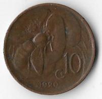 Italy 1920 10 Centesimi [C300/1D] - 1900-1946 : Victor Emmanuel III & Umberto II