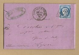Cérès 60 Sur Lettre De Romilly Sur Seine GC 3193 15/2/1874 Vers Lyon Verso Ambulant Jour Et Nuit + Arrivé - Marcophilie (Lettres)