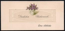 B7571 - Litho Präge Glückwunschkarte - Visitenkarte Lina Schlicke - Visitenkarten