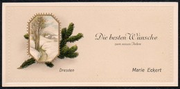 B7405 - Litho Präge Glückwunschkarte - Visitenkarte Marie Eckert - Dresden - Visitenkarten