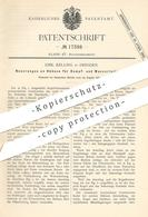Original Patent - Emil Kelling , Dresden 1881 , Hahn Für Dampf- U. Wasserleitung | Wasserhahn , Klempner , Wasserleitung - Historische Dokumente