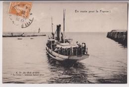 """ILE D'YEU (85) : """" LA GRIVE """" NOUVEAU BATEAU POSTE - EN ROUE POUR LA FRANCE - ECRITE EN 1928 -* 2 SCANS - - Ile D'Yeu"""