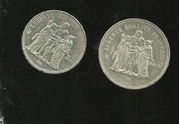 2   PIECES 1 De De 10 Fr 1965 En Argent Et 1 De 50 Fr 1977 - France