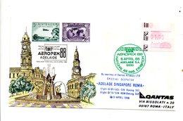 LAB550 - Australia 1988 Aeropex Frama Stamp : Dispaccio ADELADE SINGAPORE ROMA - First Flight Covers