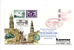 LAB551 - Australia 1988 Aeropex Frama Stamp Concorde : Dispaccio ADELADE SINGAPORE ROMA - First Flight Covers