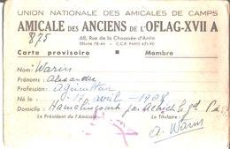 Union Nationale Des Amicales De Camps. Amicale Des Anciens De L'Oflag XVII A. Alexandre Warin Hamelincourt. - Vecchi Documenti