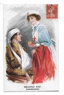 """Illustration  Signée  Indistinct  -  Soldat  Et  Infirmière  -  """"  Second  Aid  !  -  Convalescence  """" - Croix-Rouge"""