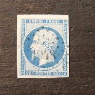 NAPOLEON N° 14 Type I 20 C  BLEU Cachet 1948  LES MEES - 1853-1860 Napoléon III