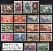 Année Complète 1939 N° 451 à 469 Cote: 376 € à -16% De La Cote  Neuf * TTB - France