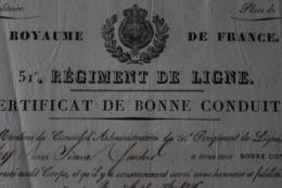 Diplome 51 Eme Regiment De Ligne 1826 Brest - Documentos Históricos