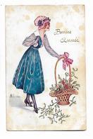 """Belle  Femme Avec  Panier De Gui  """"  Bonne  Année  """" - Sager, Xavier"""