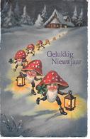 Fantasy, Fantaisie, Gnom Figures, Gnome, Zwerg, Kobold, Lantern, Champignon, Funghi, Pilze, House In Snow - Anno Nuovo