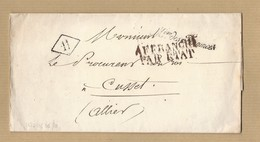 LAC De Paris 7/10/1826 MP Ministère Des Finances Affranchi Par état Pour Le Procureur De Cusset - Postmark Collection (Covers)