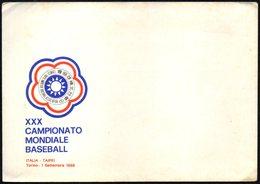 ITALIA 1988 - XXX CAMPIONATO MONDIALE BASEBALL - ITALIA / TAIPEI - TORINO 1 SETTEMBRE 1988 - BUSTA UFFICIALE - Old Paper