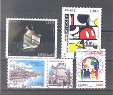 France Oblitérés : Sophie Calle - 90 Ans Mickey - Périgueux & Déclaration Universelle Droits Homme (cachet Rond) - France