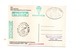 LAB559 - ITALIA 1988 , PISA Aeroporto Dall'oro . Elicottero Con Lancio Paracadutato - Elicotteri