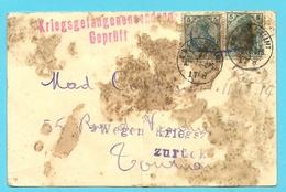 Duitse Zegels Stempel K.D.FELD-POSTAMT / 7. ARMEE-OPS , Naar TOURNAI, Stempel KREIGSGEFANGENENZ GEPRUFT + WEGEN...ZURUCK - Guerre 14-18