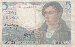 Billet 5 F Berger Du 5-4-1945 FAY 5.6 Alph. W.132 - 1871-1952 Anciens Francs Circulés Au XXème