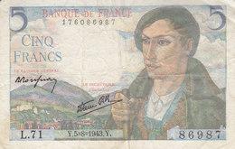 Billet 5 F Berger Du 5-8-1943 FAY 5.3 Alph. L.71 - 1871-1952 Anciens Francs Circulés Au XXème