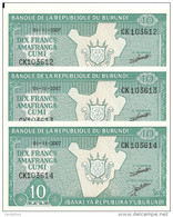 BURUNDI 10 FRANCS 2007 UNC P 33 E ( 3 Billets ) - Burundi