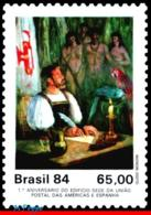 Ref. BR-1923 BRAZIL 1984 PAINTINGS, FIRST LETTER MAILED,, BUILDING UPAEP, PARROT, MI# 2044, MNH 1V Sc# 1923 - Brazil