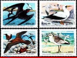 Ref. BR-2001-04 BRAZIL 1985 ANIMALS, FAUNA, WILDLIFE CONSERVATION,, BIRDS,ABROLHOS,MI# 2122-25,MNH 4V Sc# 2001-2004 - Brésil