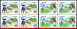 Ref. BR-2109-10-Q BRAZIL 1987 TOURISM, MONUMENTS, SCULPTURE,, CHURCH, PARROT, SAILBOATS, BLOCKS MNH 8V Sc# 2109-2110 - Parrots