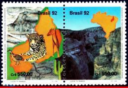 Ref. BR-2383A BRAZIL 1992 ANIMALS, FAUNA, NTL PARK,LEOPARD,CANYON,, CATS,CULT.HERITAGE,MI#2489-90 MNH 2V Sc# 2382-2383 - Brésil