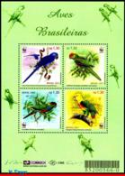 Ref. BR-2799 BRAZIL 2001 BIRDS, PARROTS, ANIMALS & FAUNA,, WWF, MI# B115, S/S MNH 4V Sc# 2799 - Brésil